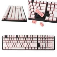RGB 108 Keycaps ANSI Layout Add ISO PBT Pink Pudding Double Skin Milk Shot Backlit Keycap Storage Board For OEM Cherry MX