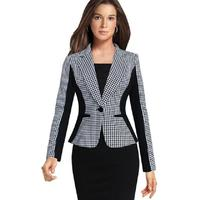 2017 Professional Women Female Suit Houndstooth Stitching Formal Slim Long Sleeve Blazer Suit Patchwork Plus Size Work Suits