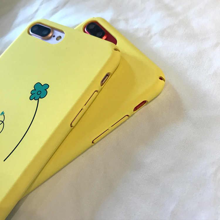 Funda dura para teléfono PC Ultra fina 2018 para iphone 8 funda divertida de dibujos animados letra flor impresión trasera para iphone 6 6s 7 8 caso iPhone