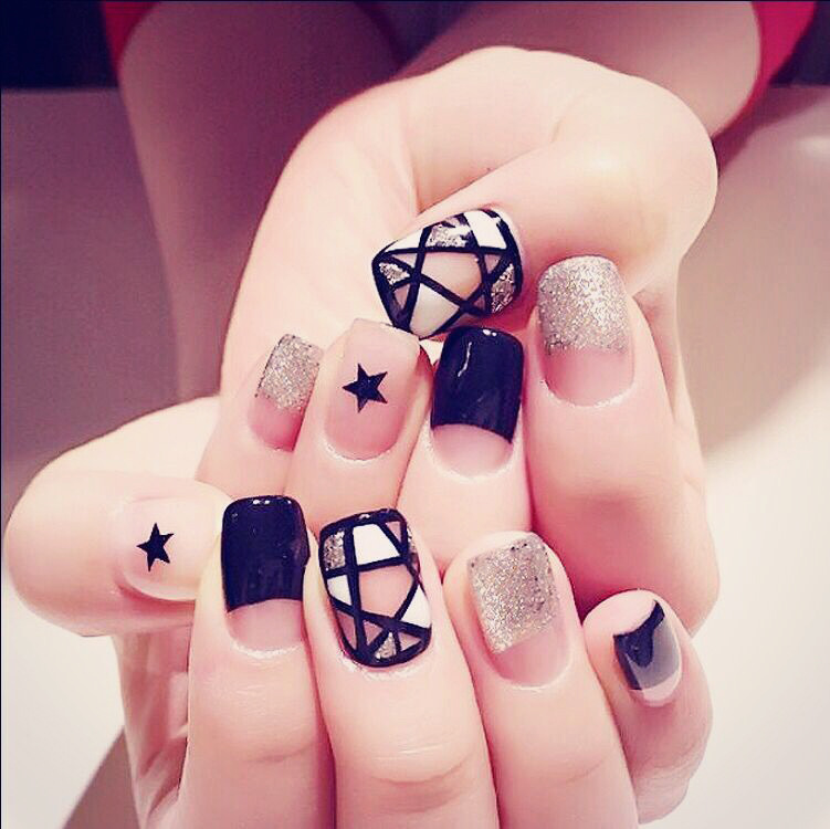 23 Nail Short Paragraph Cute Patch Finished Nail Products 24 Pcs ...