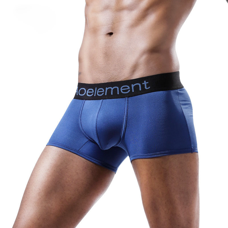 Male Underpants Ice-Silk Youth Mens Boxers Fashion U-Pouch Waist Breathable Middle Solid