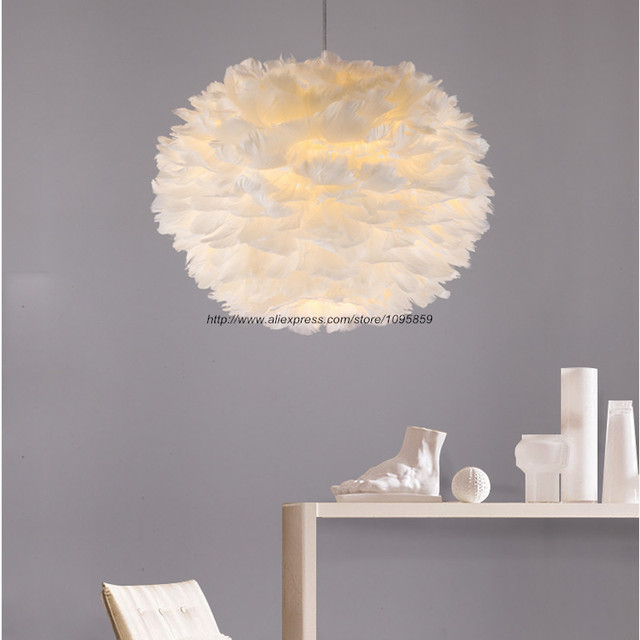 d334058cm white globe shade modern feather pendant lights lamps bedroom ceiling fixtures - White Bedroom Ceiling Lights
