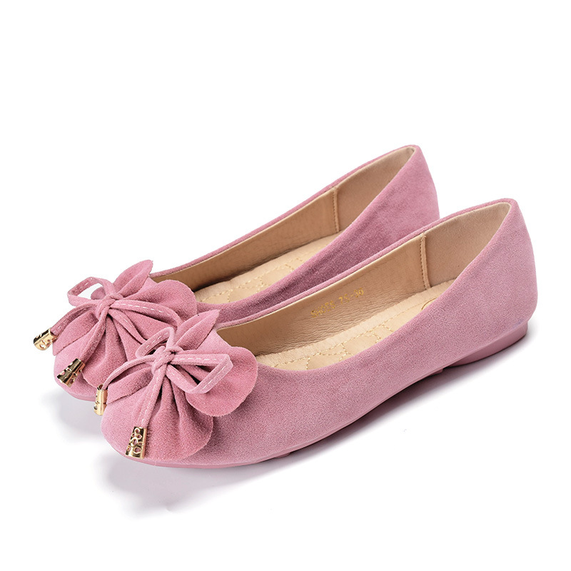 ФОТО 2017 Spring Round Toe Cow Suede Women Flats Shallow Single Shoes Sweet Bow Flat Shoes Soft Bottom Driving Shoes Plus Size 34-43