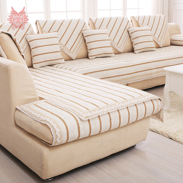 Modern Off White Brown Striped Cotton Linen Sofa Cover Lace Decor Sectioanl  Slipcovers Canape Furniture Covers