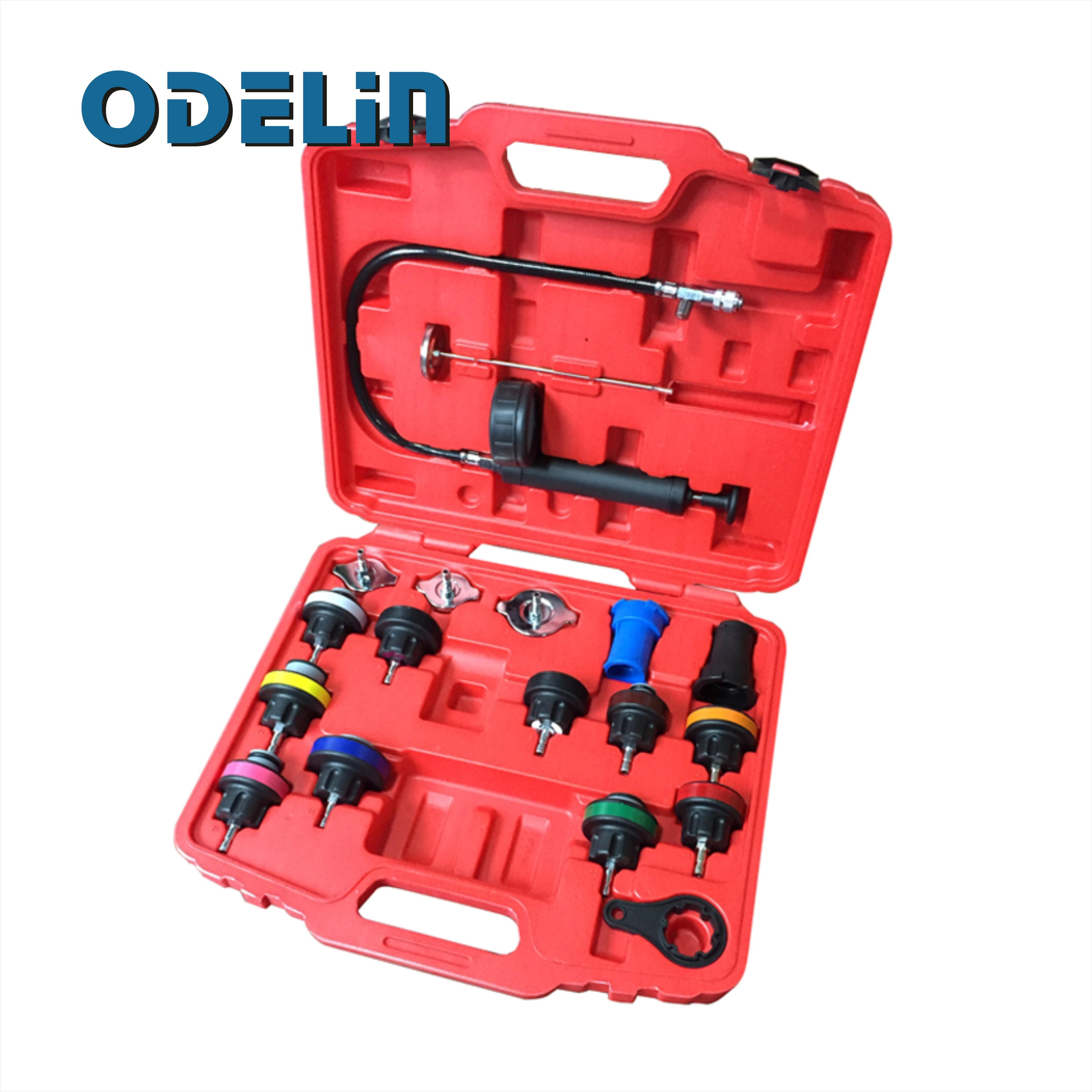 18 Pcs Universal Radiator Pressure Tester Tool Kit Cooling System Testing Tool new 14 pcs car water tank leakage detector radiator coolant system pressure test tool