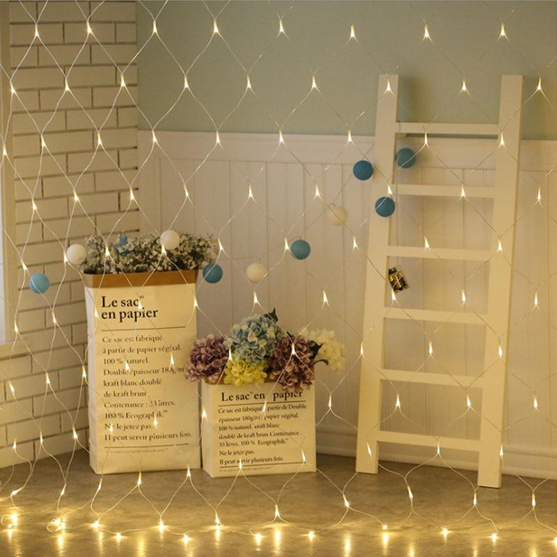 Image 2 - Светодиодный сетчатый светильник Гирлянда для дома и сада, настенный светильник для телевизора, декоративный светильник, 1,5x1,5 м, 2x2 м, 3x2 м, 6x4 м, Сказочная гирлянда для свадебной вечеринки-in LED-гирлянды from Лампы и освещение on