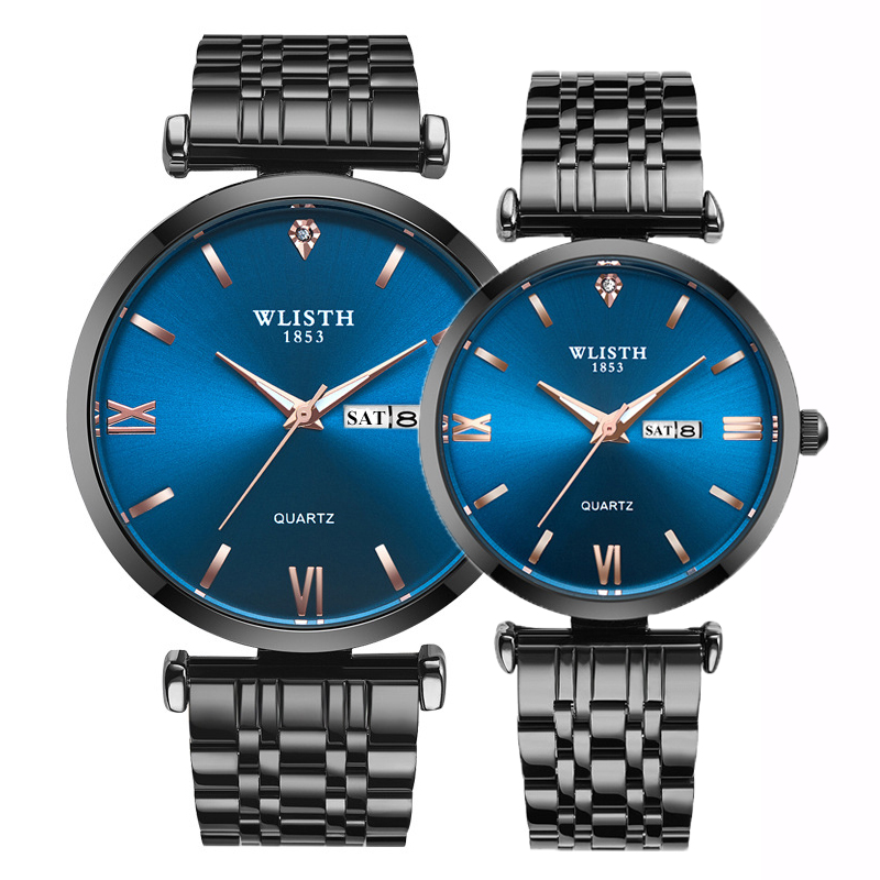 Couple Watches For Lovers Steel Black Blue Set Quartz Wristwatch WLISTH Top Quality Fashion Business Men Women Watches Pair Hour
