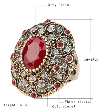 Vintage Indian Jewelry Boho Big Black Red Green Stone Ring Luxury Crystal Antique Gold Wedding Rings For Women 2018 New Arrivals