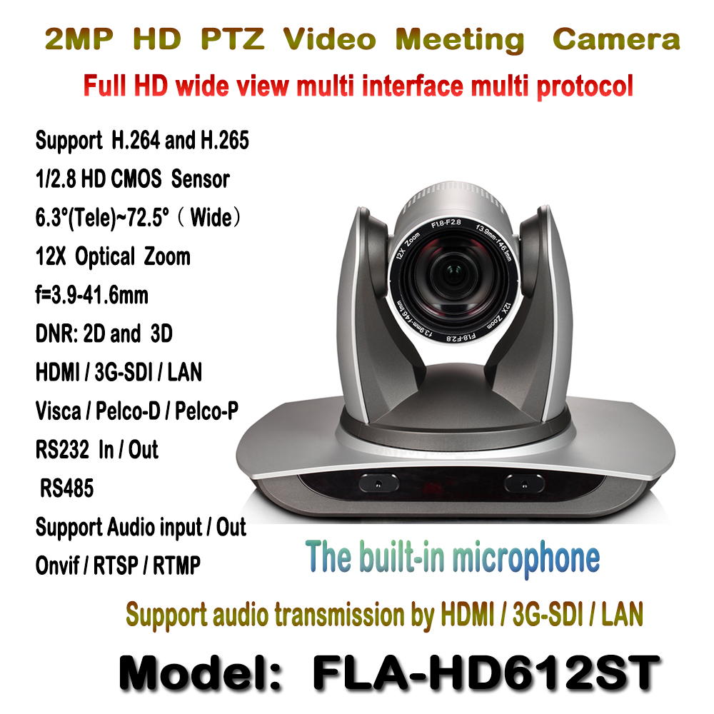 PTZ 12X Wide angle 1080p 60fps Video Conference Meeting Camera Built-in Audio device with 3G-SDI HDMI and IP Streaming H.265 poe 2mp 20x sdi ptz ip streaming conference media camera with simultaneous audio input rs232 and 3g sdi outputs silver color