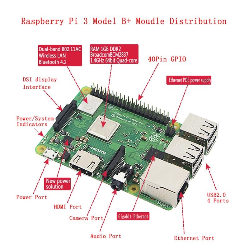 Original raspberry pi 3 modelo b plus kit wifi & bluetooth + 3a adaptador de energia acrílico caso mais frio melhor do que raspberry pi 3b