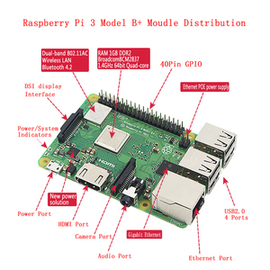 Image 2 - Raspberry Pi 3 Model B Plus Kit with WiFi&Bluetooth + 3A Power Adapter + Acrylic Case + Cooler + HDMI Cable for Raspberry Pi 3B+