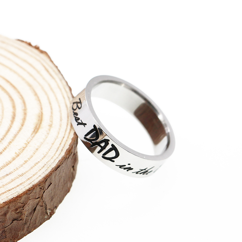 XIAOJINGLING Ring Men Jewelry Personality Rings Accessories Best Dad in the world Fashion Ring Papa Dad Father Gifts Birthday