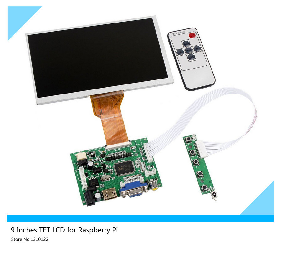 skylarpu for 9''inch LCD Display Raspberry Pi LCD Display Screen TFT Monitor AT090TN12 HDMI VGA Input Driver Board Controller innolux 7 0 raspberry pi lcd touch screen display tft monitor for at070tn92 with touch screen kit hdmi vga input driver board
