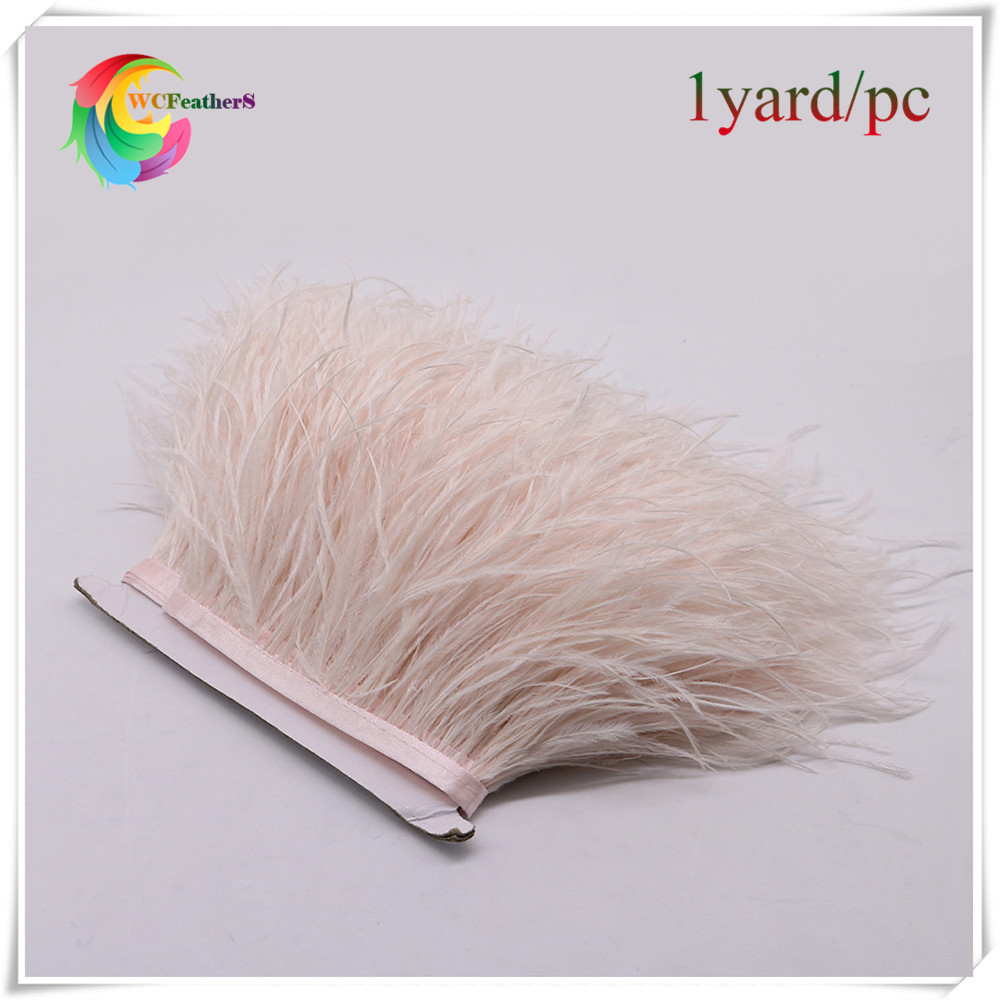 hot sell 1 yard Skin Pink Natural ostrich feathers Trims Height 10-15cm DIY Clothing Accessories Wedding party Decoration