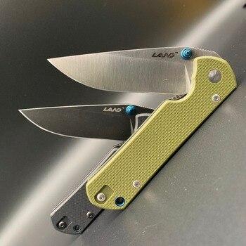 LAND 910 pocket folding knife 12C27 stainless steel blade ball bearing outdoor camping portable survival fishing edc tool 2