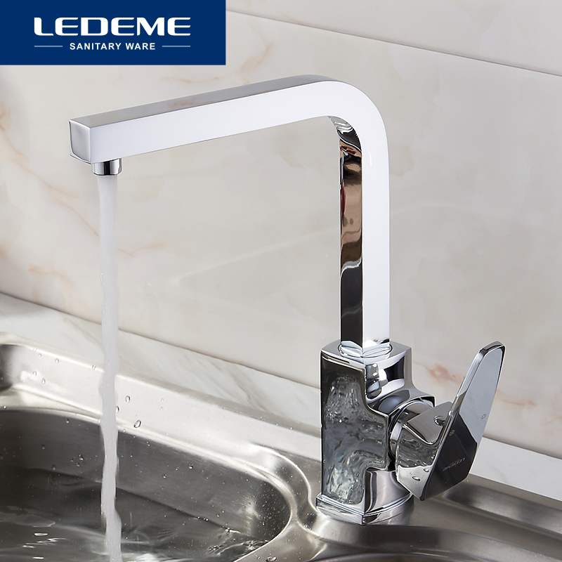 LEDEME Brass Chrome plated Kitchen Faucet Single Spout Drinking Water Filter Kitchen Faucet Tap for Kitchen
