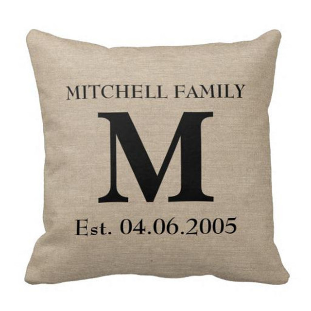 Rustic Monogram Linen Pillow Case Cover with Personalized Date&Name