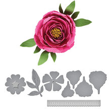 Пион цветок Выгравированные штампы резки металла Скрапбукинг крафтинга бумаги искусство тиснение трафарет 9,2×8,6 см
