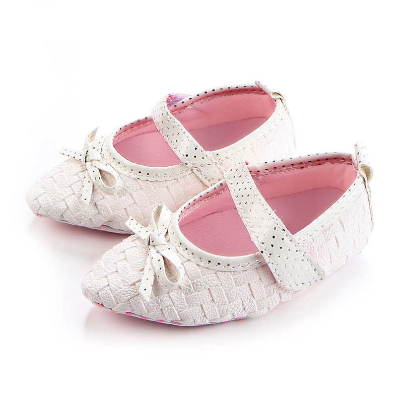 Baby Girls Bow Leather Frist Walkers Shoes Soft Soled Non-slip Footwear Pointed Bow Tie Shoes hot