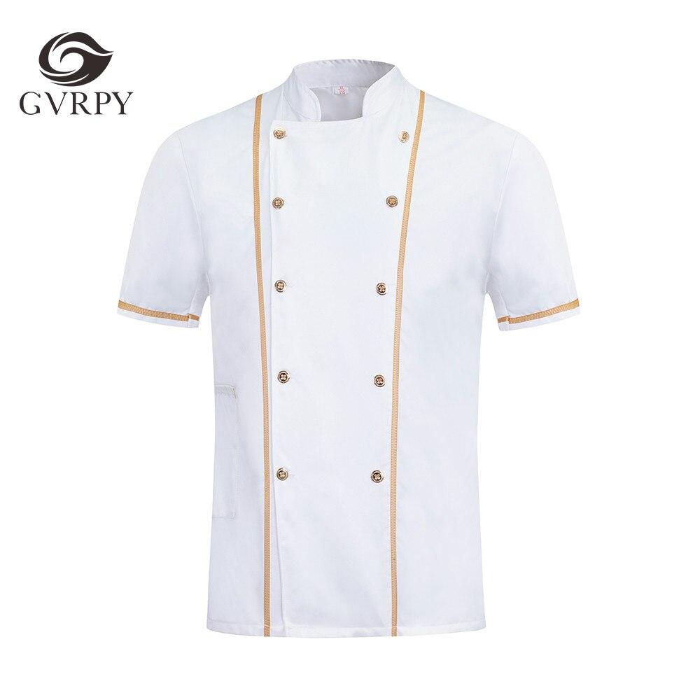 Summer Breathable Short Sleeve Unisex Kitchen Restaurant Hotel Uniform Shirt Food Service Short Sleeve Workwear Chef Uniform