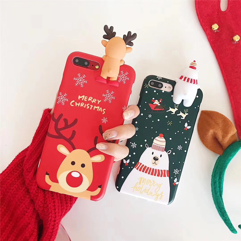 Christmas Phone Case For Iphone 8 Plus Cases For Iphone 7 Soft Case Cute  For Iphone X XS XR Xsmax Case With Snowman And Moose