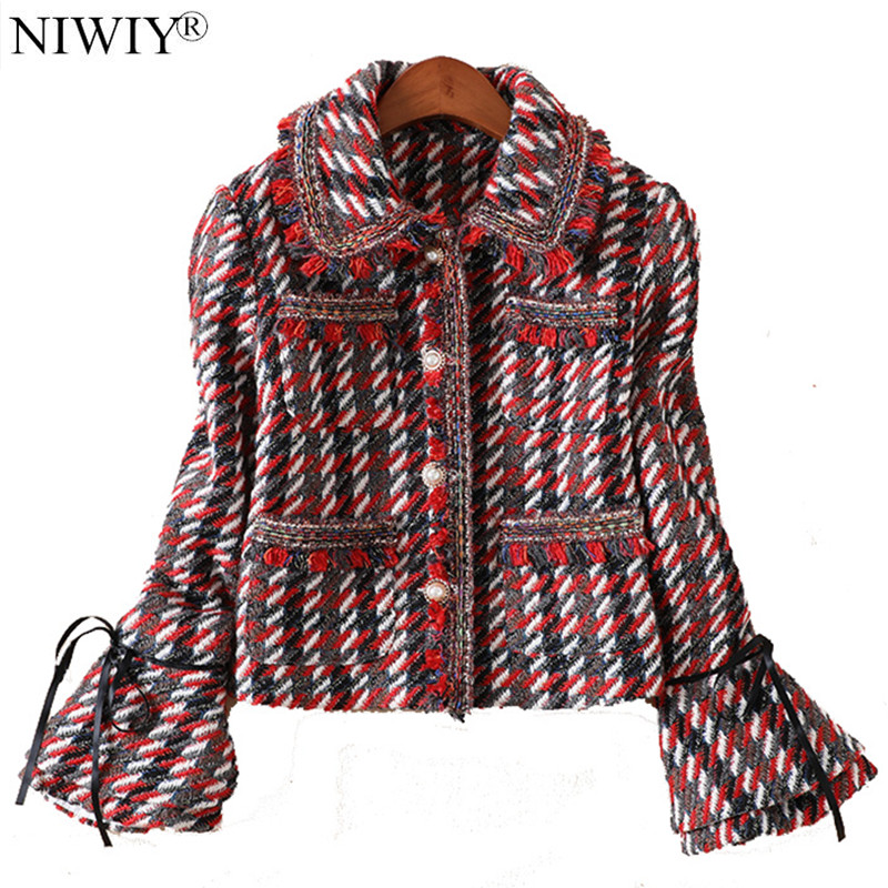 NIWIY Brand Autumn 2 Piece Set Women Long Sleeve Jacket Short Woolen Skirt Manteau Femme Hiver