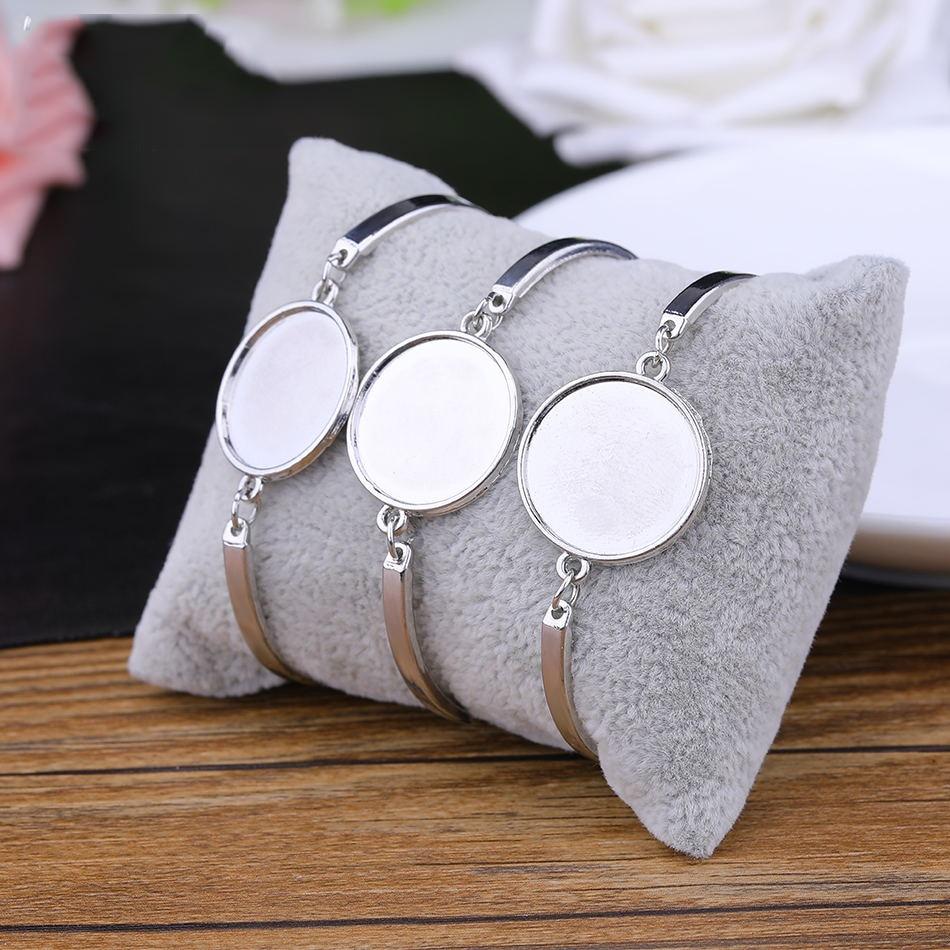 Juya 4pcs/lot 20mm Round Blank Cabochon Bracelet Base Bezal Trays For Handmade Bangle Settings Bracelets DIY Making Accessories