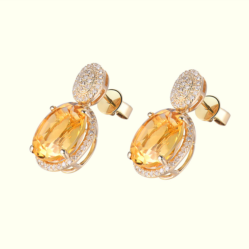 Takı ve Aksesuarları'ten Küpeler'de Loverjewelry Küpe Kadınlar Için Trendy Citrine Sonrası Küpe Doğal Elmas Katı 14Kt Sarı Altın Oval 10x12mm Citrine taş'da  Grup 2