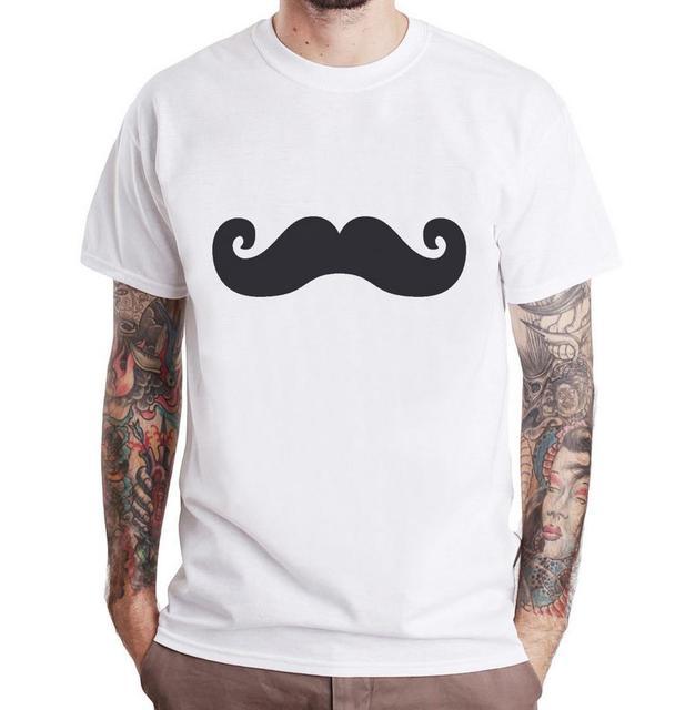 Snor ontwerp Print Mannen t-shirt Fashion Casual Grappig Shirt Voor Man Wit Top Tee Harajuku Hipster Straat ZT203-23