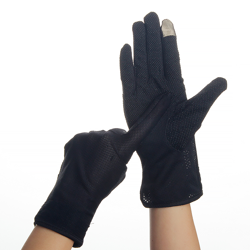 Women Driving Gloves Summer Autumn Breathable Stretch Gloves Touch Screen Sunscreen Anti Uv Slip Resistant Glove Black Size 23cm