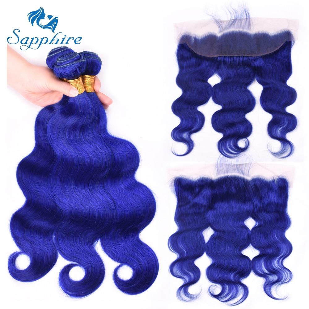 Paquets malaisiens de cheveux de cheveux de saphir avec les cheveux frontaux de vague de corps de fermeture de dentelle 3 paquets de cheveux humains avec la dentelle frontale 13*4