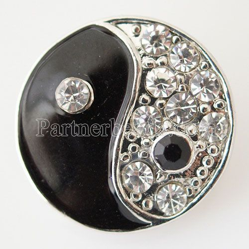 Partnerbeads 20mm Tai Chi snap button with white Rhinestone fit for snap bracelets necklace interchangable snaps jewelry KB6184