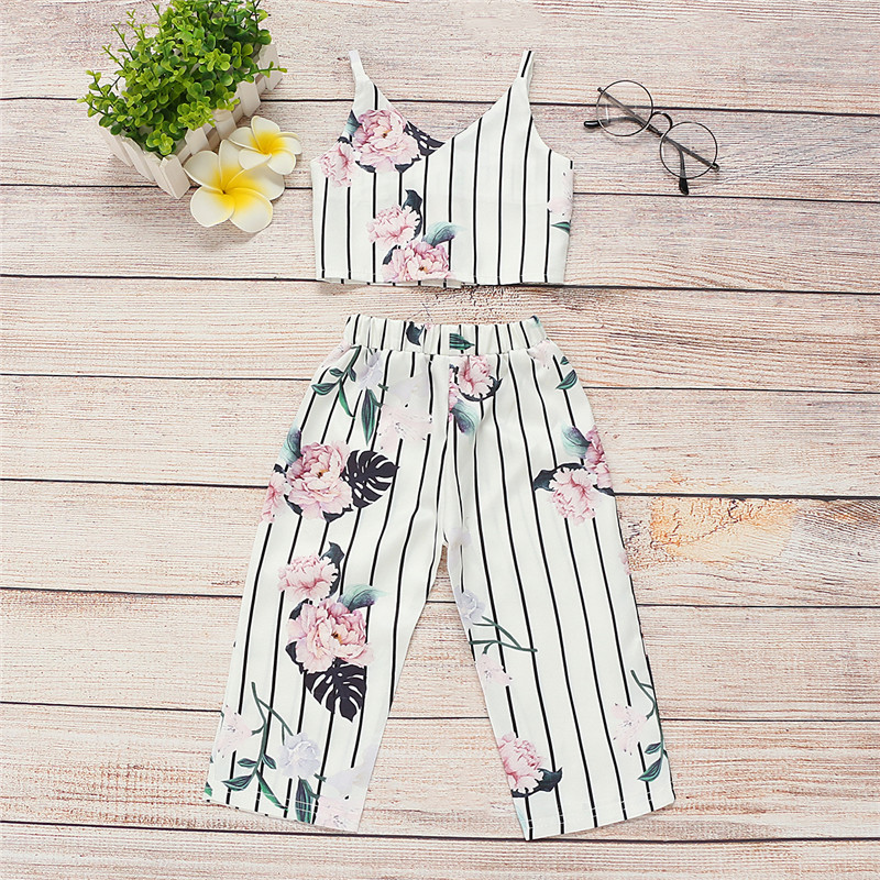 Girls Clothing Sets Summer Fashion Girls Sleeveless Fashion Design Crop Top+Casual Pants 2Pcs Girls Clothes