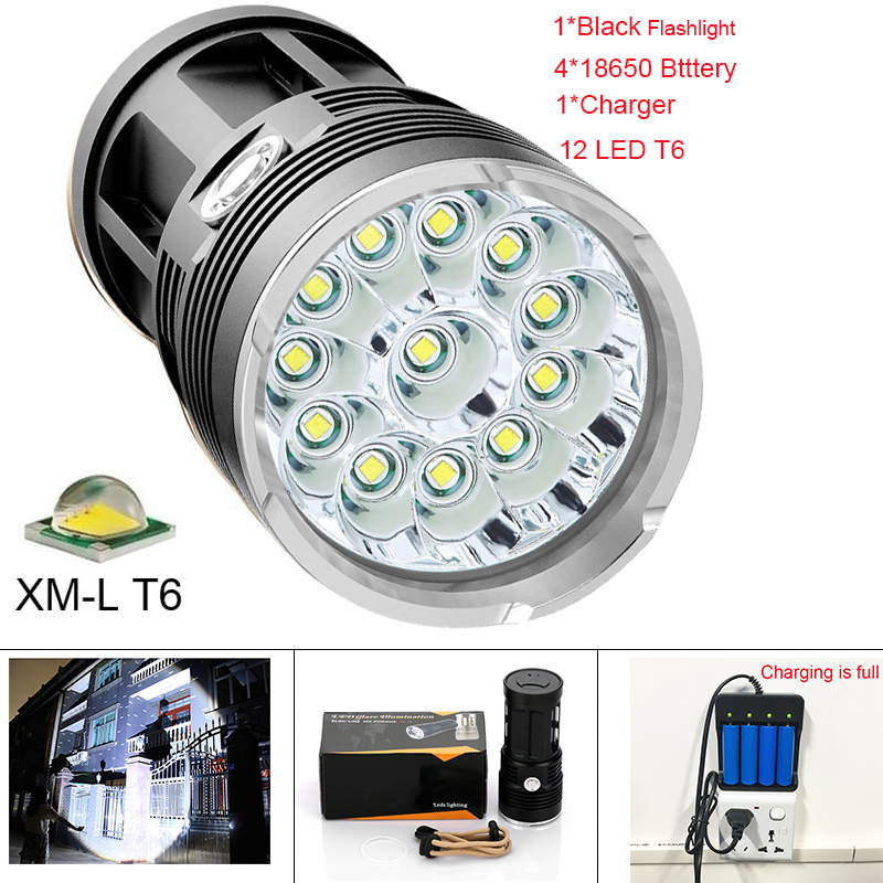 42000 lumens Flashlight 12 CREE XML T6 Ls