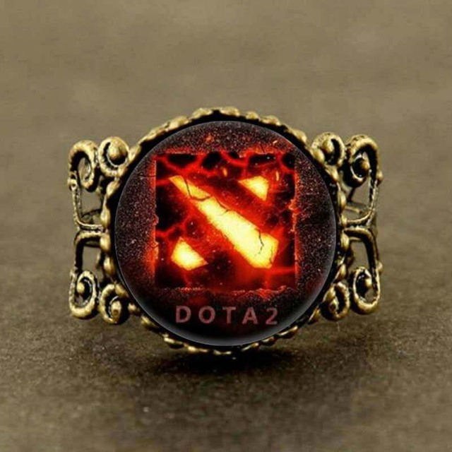 0c85ca79e753 Juego dota 2 collares joyería declaración anillo flor bronce de plata para  hombres mujeres regalo de