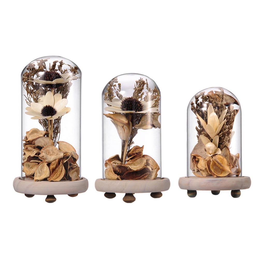 Dried Flowers Creative Terrarium Vase With Gold Flowers