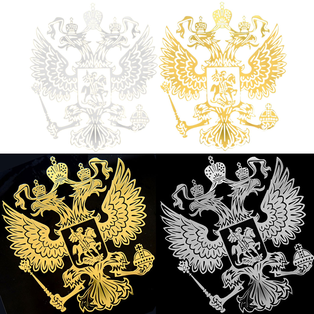 Dewtreetali  6.0*5.4cm 9.0*8.4cm Coat Of Arms Of Russia Nickel Metal Sticker Decals Russian Federation Car Stickers For Laptop