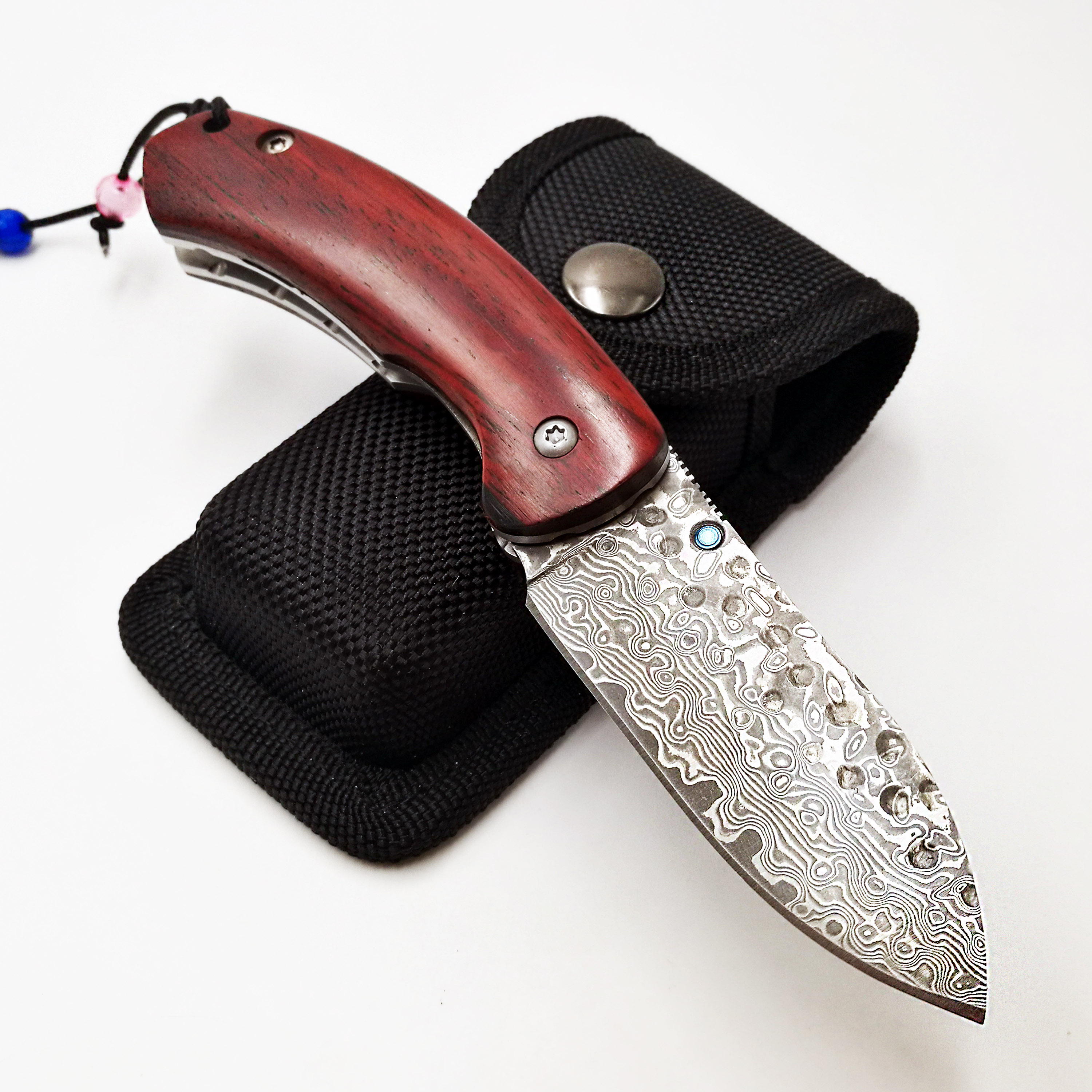 Tactical Pocket Folding Knife Damascus Blade Rosewood Handle Outdoor Camping Survival Diving Knive Hunting High Quality EDC Tool in Knives from Tools