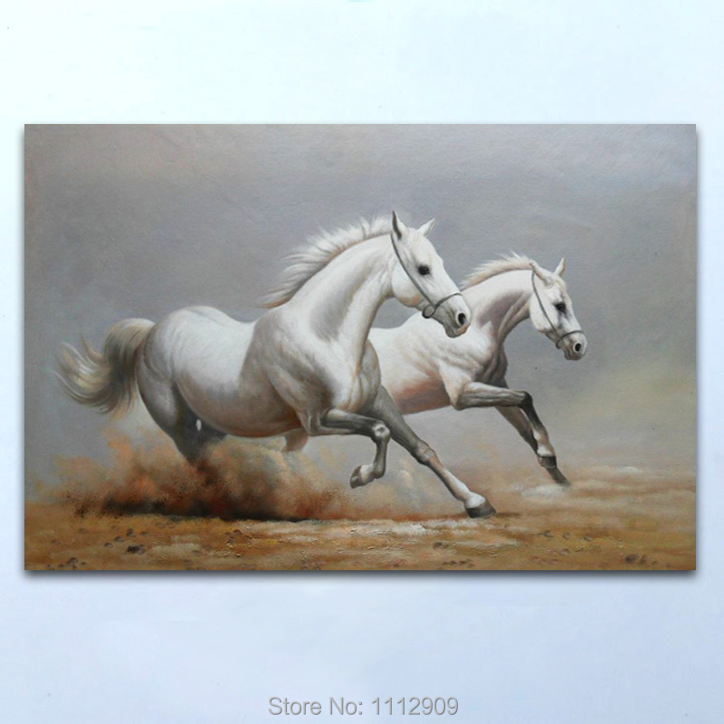 High quality Handmade Animal oil paintings on canvas Two White ...