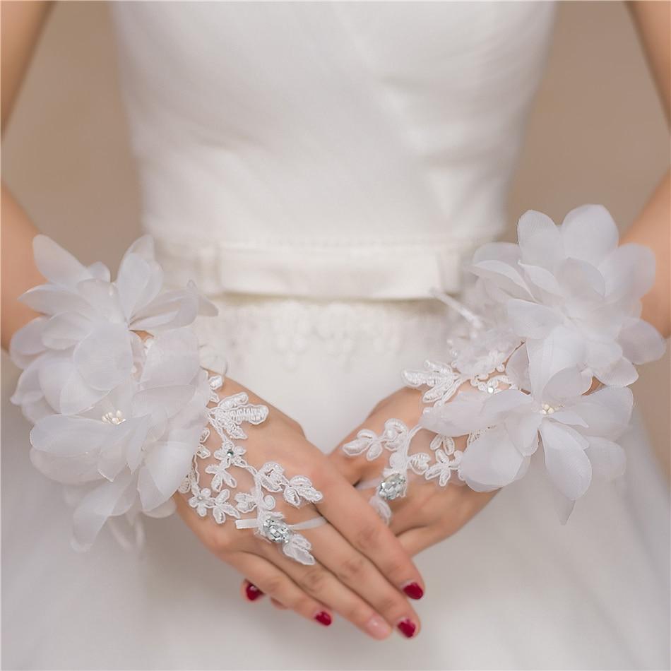 Свадебные платья Перчатки 2017 Свадебное Платье Аппликация Свадебное платье Перчатки кружевные Короткие Двухместный Люкс Перчатки свадебные платья