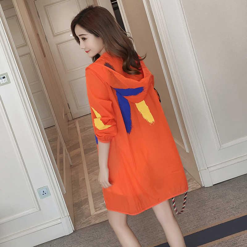 Большой размеры S-4XL летние пляжные УФ куртка для женщин Защита от Солнца защиты костюмы леди перспектива свободные с Hooded ш