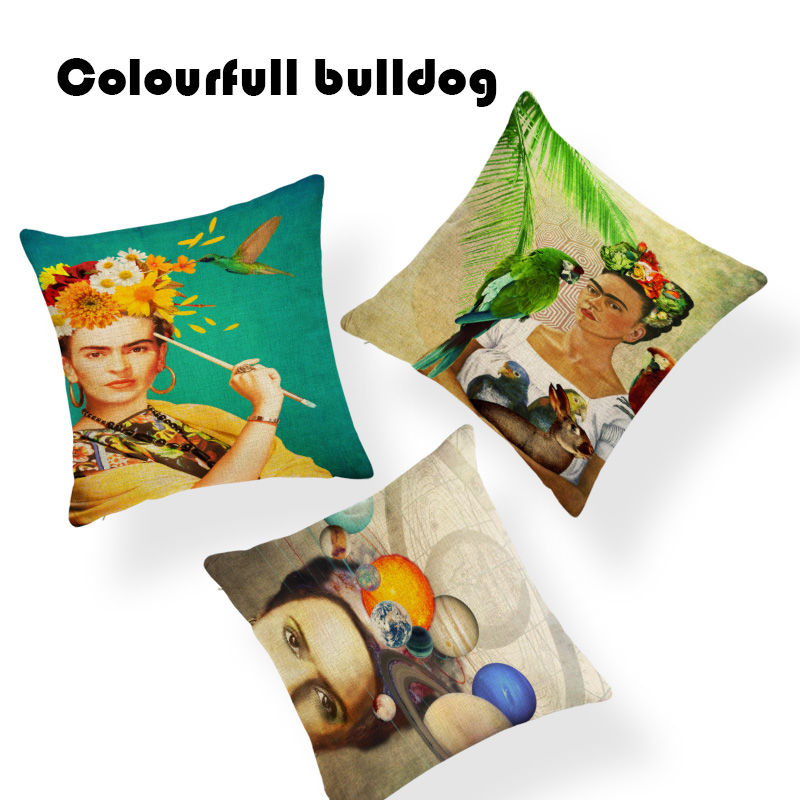 Luxury Frida Space Cushion Covers Vintage Animal Parrot Pillow Cover Car Seat Banana leaves 18 Inch Linen Houseware Home Decor