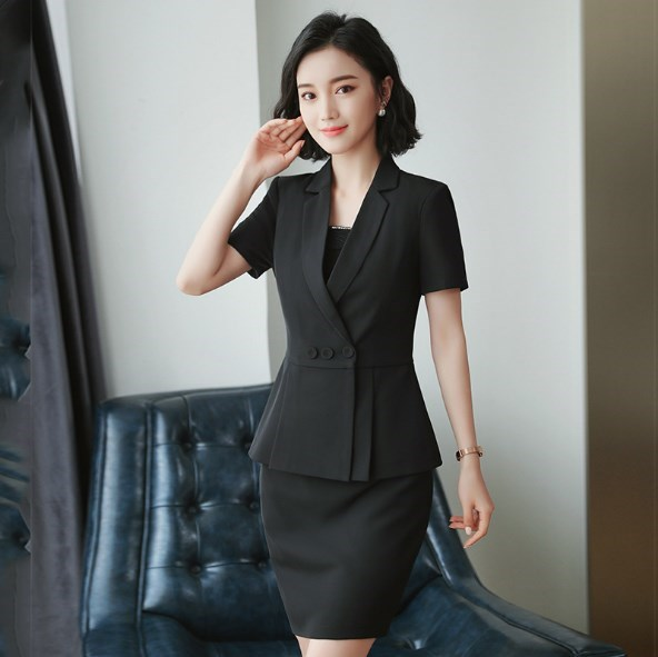 Ladies Summer Suits Skirt and Jacket 2 pcs Set Office Uniform Designs Formal Work Mini Skirts Suit for Women Blazer Skirt Suits