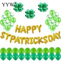 62pcs Stpatricks Day Letter Balloons Green Foil Balloon Party Decoration Kids Adult Air Balls Clover Ballon Festival Baloon
