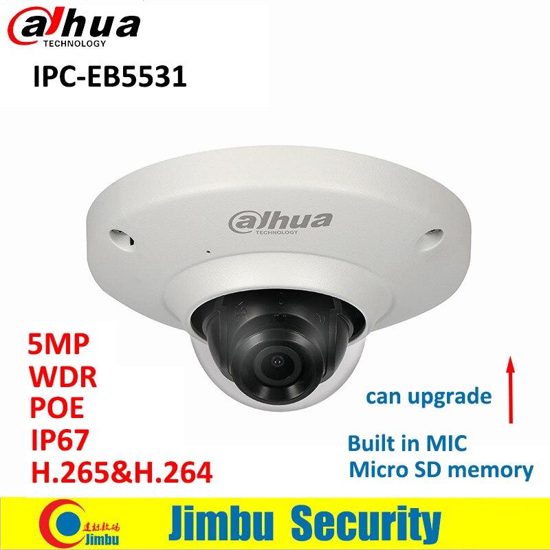 Dahua Fisheye IP Della Macchina Fotografica IPC-EB5531 5MP PoE Panoramica di Rete H.265 1.4mm lente IVS Built-In Mic Micro carta di DEVIAZIONE STANDARD di IP67 macchina Fotografica del CCTV
