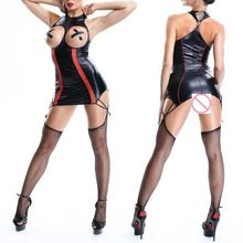 CFYH 2018 New Sexy Zipper PU Faux Leather Shiny Chain Punk Dress Bandage Open Bust Bodysuit Latex Wet Look Erotic dress