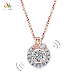 Peacock Star Dancing Stone Pendant Necklace Solid 925 Sterling Silver Rose Gold Color CFN8105