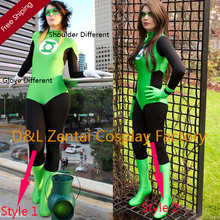 Free Shipping DHL Wholesale Amazing Green Lantern Superhero Zentai Catsuit Costume For Woman Halloween Costume 2 Style