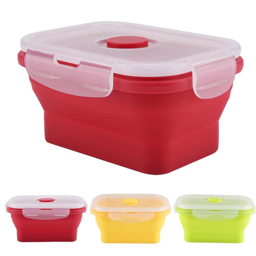 New Style Retângulo Lancheira Silicone Dobrável Tigela Almoço Bento Caixa Recipiente de Alimento Para Microondas Crianças Ao Ar Livre