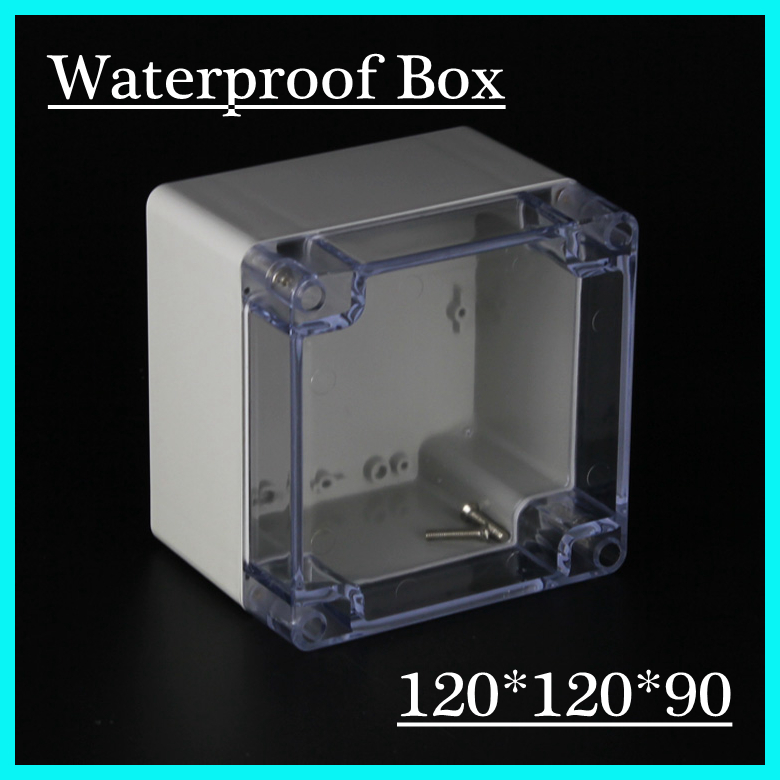 (1 piece/lot) 120*120*90mm Clear ABS Plastic IP65 Waterproof Enclosure PVC Junction Box Electronic Project Instrument Case waterproof abs plastic electronic box white case 6 size